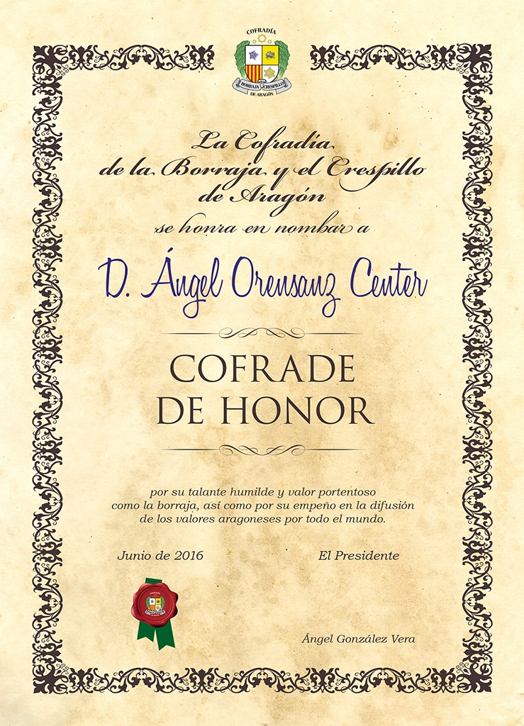 Cofrade de Honor Angel Orensanz  2016
