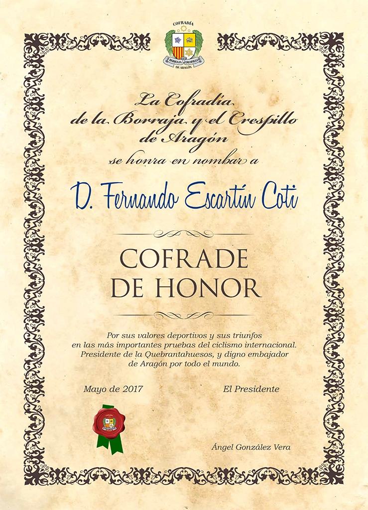 Cofrade de Honor Fernando Escartin 2017