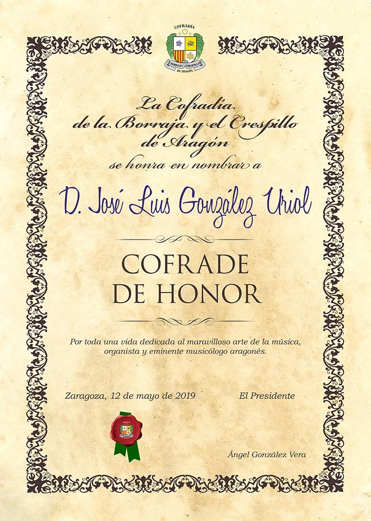 Cofrade de Honor Gonzalez Uriol