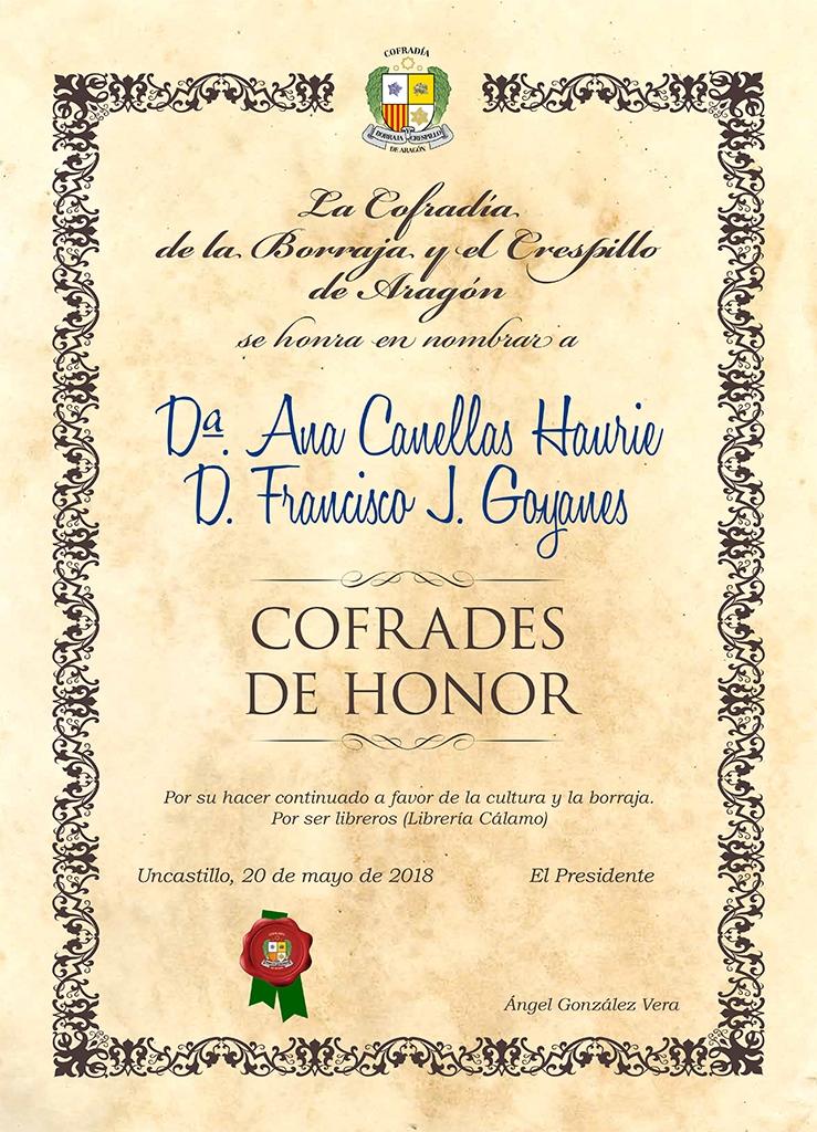 Cofrade de Honor Librería Cálamo 2018-2