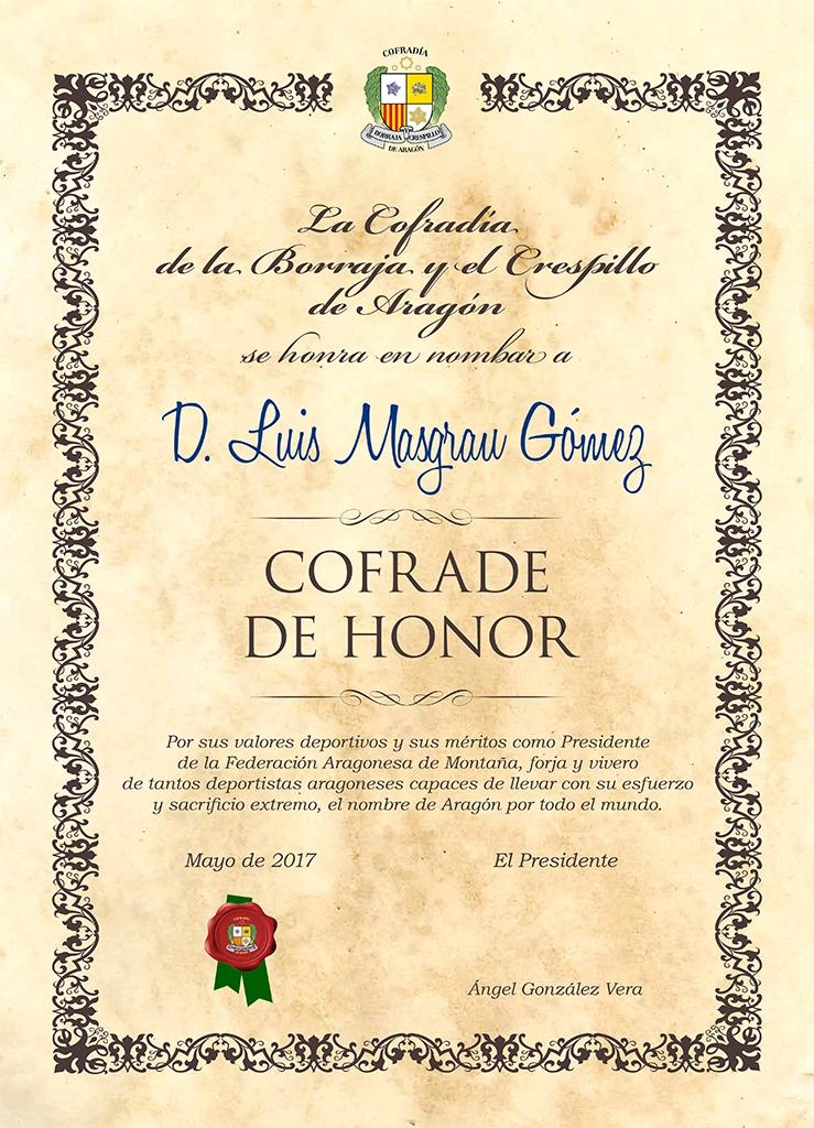 Cofrade de Honor Luis Masgrau Gómez Mayo 2017